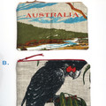 AUSTRALIA Linen Zip Pouch Purse  - Australian Outback design