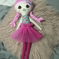 Ray of hope doll - aqua floral with pink skirt and pink hair