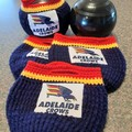 Includes Postage HAND CROCHET AFL CLUBS LAWN BOWLS BUDDIES/BEANIES Set of 4