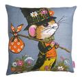 Vintage Retro  - Cute Hobo Mouse  - Linen Cushion