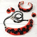 Roses Jewellery Set -  4 piece set - Red with Black Roses