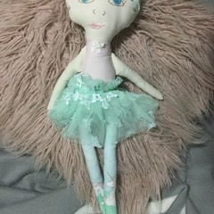 Ray of hope doll - pale aqua with unicorns, pale pink skirt and yellow hair