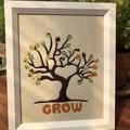 Framed fabric art tree