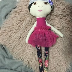 Ray of hope doll - navy floral with pink skirt and black hair