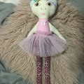 Ray of hope doll - leopard print with pale pink and purple hair