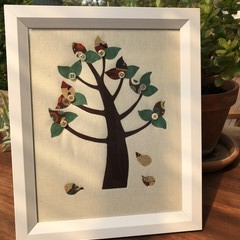 Framed fabric art tree
