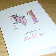 Female Personalised Birthday card - Magnolia monogram
