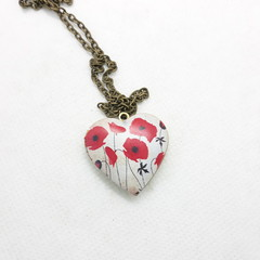 Poppy Heart Memory Locket
