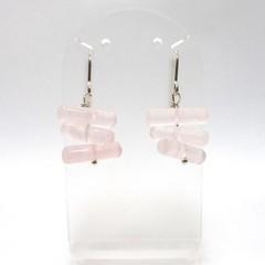 Rose quartz cylinder beads sterling silver earrings
