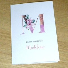 Personalised Birthday card - Magnolia monogram