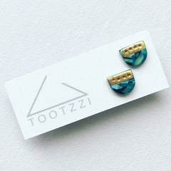 """MINI MARBLEOUS Studs - """"Tranquil"""" w/ Gold Accent (vii)"""