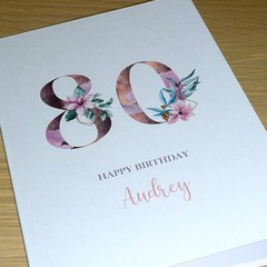 Personalised age Birthday card - Magnolias