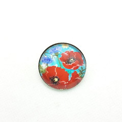 Turquoise Poppy Brooch