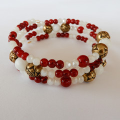 Red & White crystal wrap bracelet
