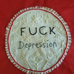 Subersive embroidery red  tote bag depression