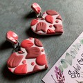 Heart shaped pink and white statement dangle