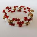 Red & White crystal wrap bracelet