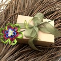 Floral Wired Pick Paper Raffia Blossom Butterfly Button Vase Decoration