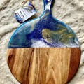 Blue, White and Gold Resin Board