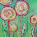 Original Wall Art - Bright Abstract Floral Painting - Pink and Green Poppies