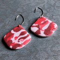 Pink and white large shell shape statement drop