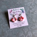 Pink and white small shell shape drop