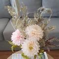 Dahlia - Peaches and Cream || crepe paper flowers, handmade flowers, room decor.