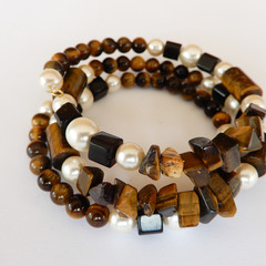 Tiger Eye and Pearl Wrap Bracelet