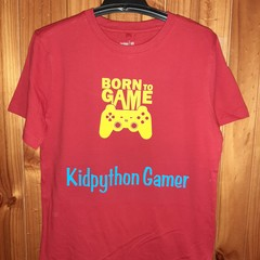 Born to game boys t shirt red Kidpython gamer boys T-shirt Xbox PlayStation