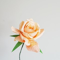 Orange Rose    single stem, crepe paper flower, table decor.