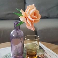 Orange Rose || single stem, crepe paper flower, table decor.