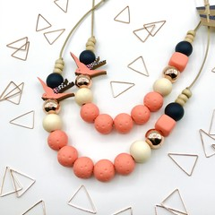 Serenity Swallow Necklace - Peach