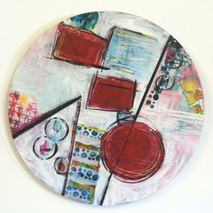 Round Abstract Wall Art - Bright Original Painting - Serendipity 1