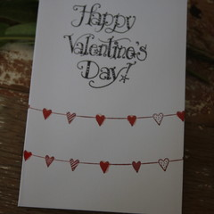 Valentine's Day Card Heart Bunting Card Red Heart Bunting Card
