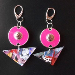 Adalyn - Collage eardropwith hot pink disc