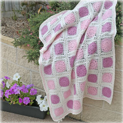Cot quilt or blanket, crochet, wool,