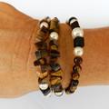 Tiger Eye and Pearl Wrap Bracelet