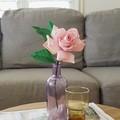 Single stem purple rose || crepe paper flowers, home decor, flower arrangements.