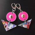 Adalyn - Collage eardropwith hot pink disc