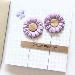 Personalised Birthday card purple flowers