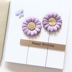 Personalised Birthday card purple flowers
