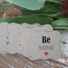 24 Valentine's Day Be Mine Tags Florist Tags Cake Box Tags Biscuit Tags
