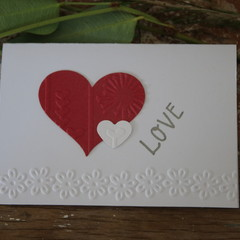 2 Valentine's Day Cards Love Card Red Heart Card Wedding Card