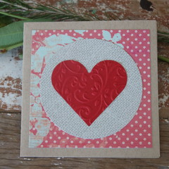 Red Heart Card Valentine's Day Card Love Card Wedding Card Anniversary Card