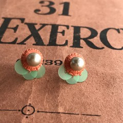 Circle Stud Earrings with Sequins