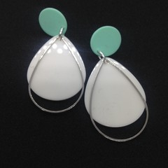 Cream acrylic teardrop with silver alloy accent earrings