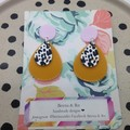 Mustard acrylic with animal print wood teardrop earrings