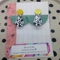 Speckled olive green crescent with animal print wood teardrop earrings
