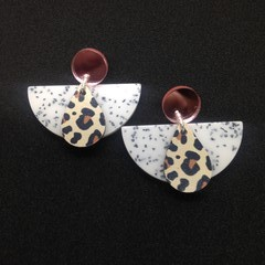 Speckled crescent with animal print wood drop earrings