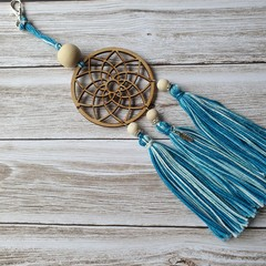 Dreamcatcher zipper pull with teal and white tassels, keyring, bag bling